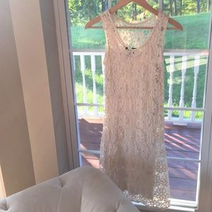 INC Lace Dress with a Separate Lining Cream